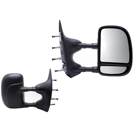61201-02F - Fit System Towing Mirror Pair for 02-14 Ford Econoline Van, textured black, extendable, foldaway, Manual Econoline Van Mirror Manual