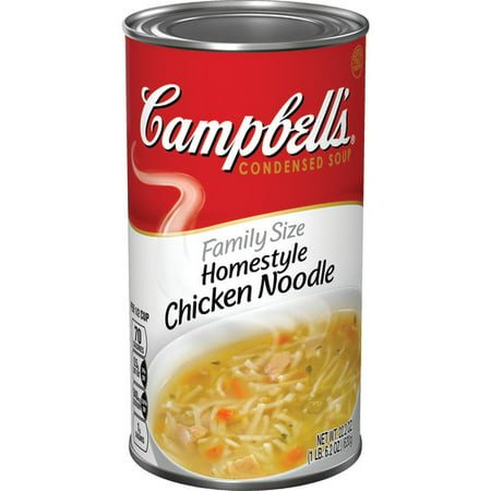 (2 Pack) Campbell's Condensed Family Size Homestyle Chicken Noodle Soup, 22.2 oz. Classic Chicken Noodle Soup