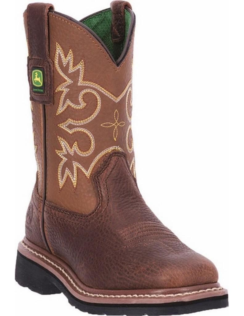 John Deere Western Boot Boys Cowboy Velva Square Toe Mesq JD3342 by John Deere