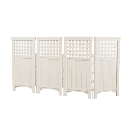 Suncast FS4423T Outdoor Steel and Resin 4 Panel Screen Yard Enclosure, Taupe ()