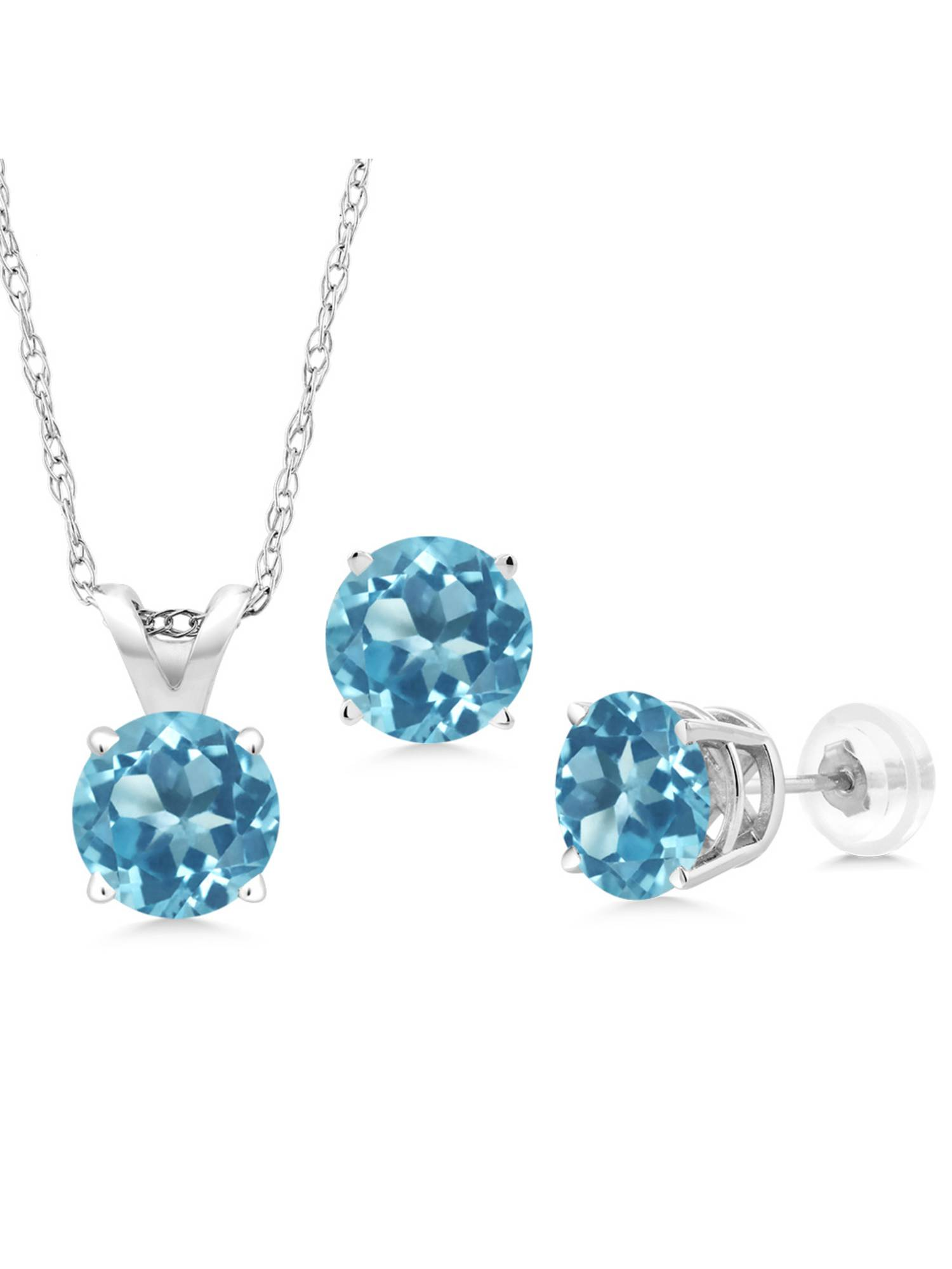 2.70 Ct Round Swiss Blue Topaz 14K White Gold Pendant Earrings Set With Chain by