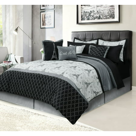 paris queen bedding bed in a bag 12 piece set with sheets eiffel tower black and gray. Black Bedroom Furniture Sets. Home Design Ideas