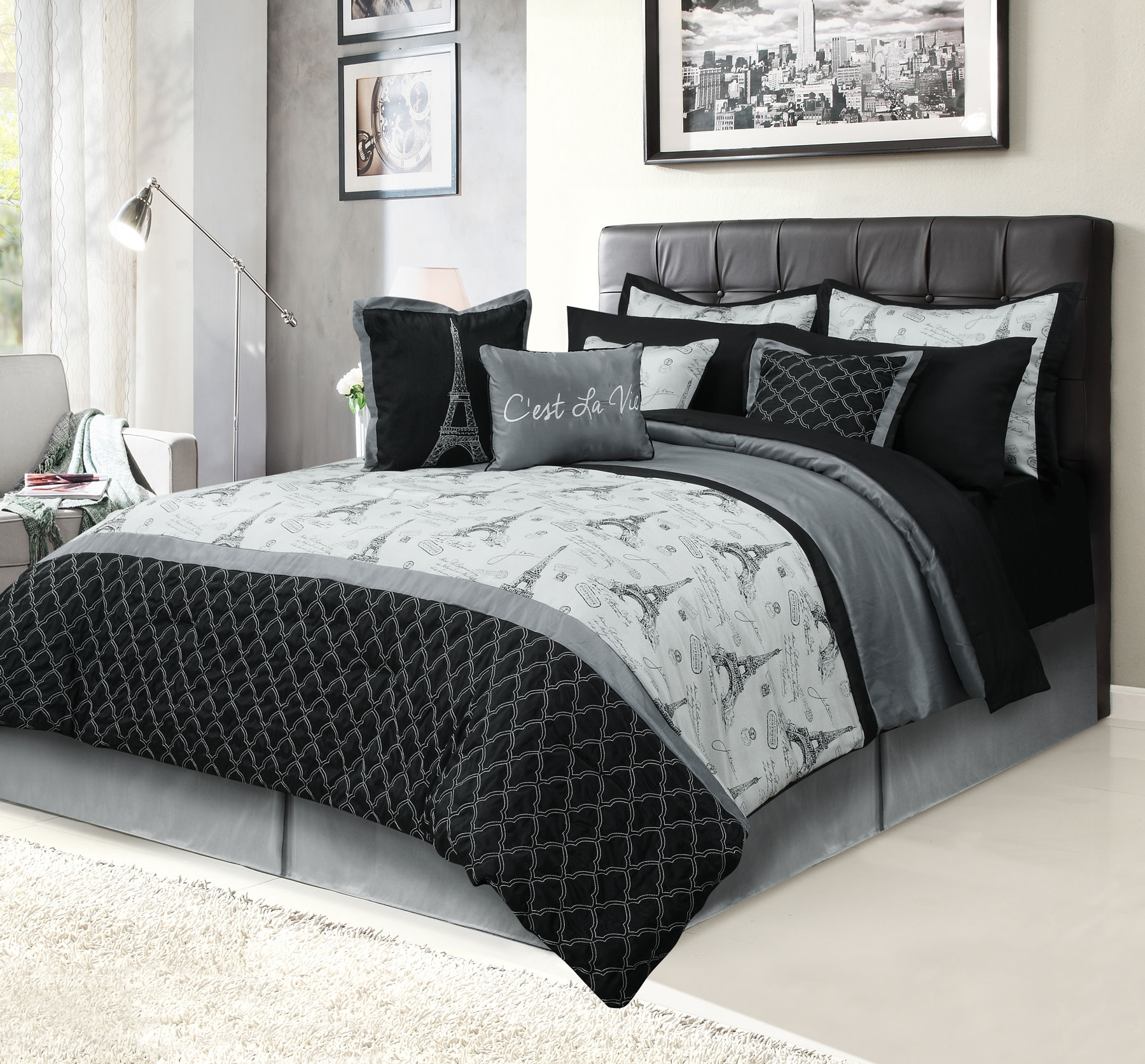 Paris King Bedding Bed in a Bag 12 Piece Set with Sheets, Eiffel Tower Black and Gray