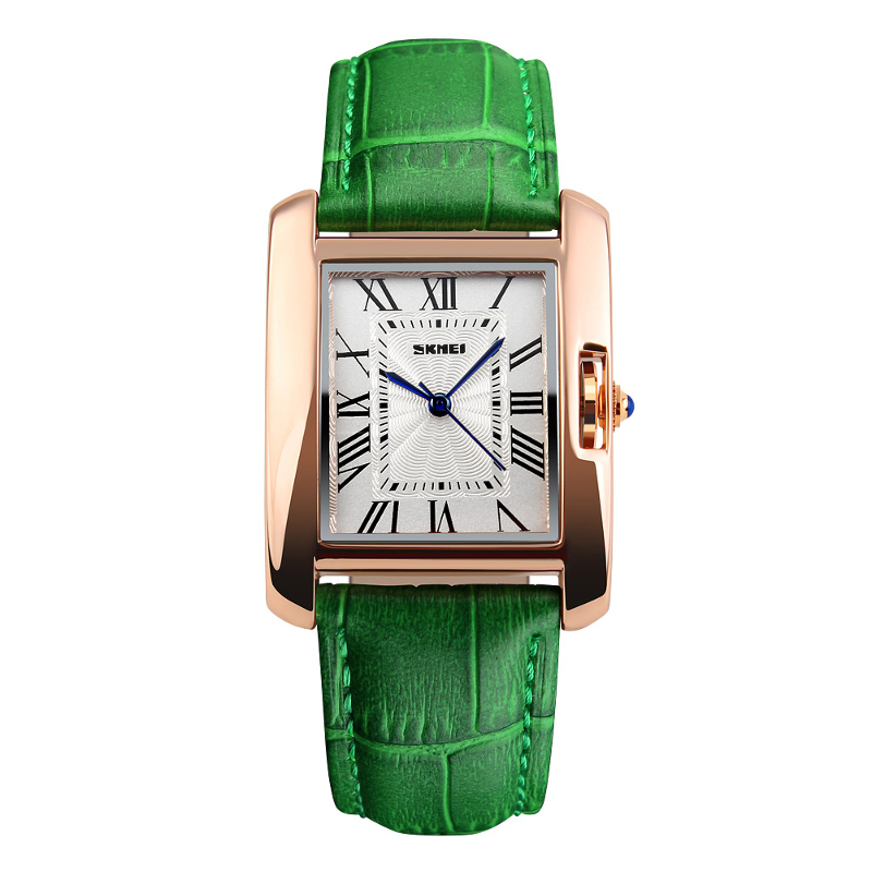 skmei rose gold-tone green leather strap watch for women 30mm