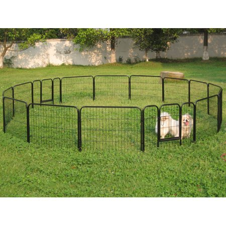 16 Panel Metal Cage Crate Pet Dog Cat Fence Exercise Playpen Kennel 24