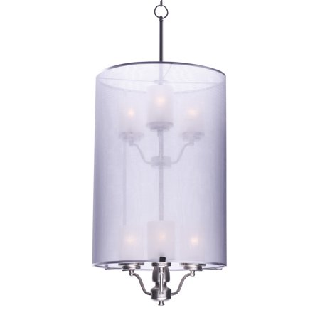 Satin Silver Effect - Maxim Lighting Lucid - Six Light Pendant, Satin Nickel Finish with Silver Sheer Shade