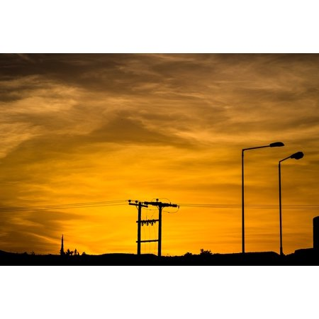 Peel-n-Stick Poster of Landscape Sunset Light Silhouette Pole Clouds Sky Poster 24x16 Adhesive Sticker Poster Print