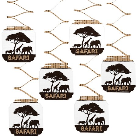 Wild Safari - African Jungle Adventure Birthday Party or Baby Shower Hanging Decorations - 6 Count - Safari Decorations