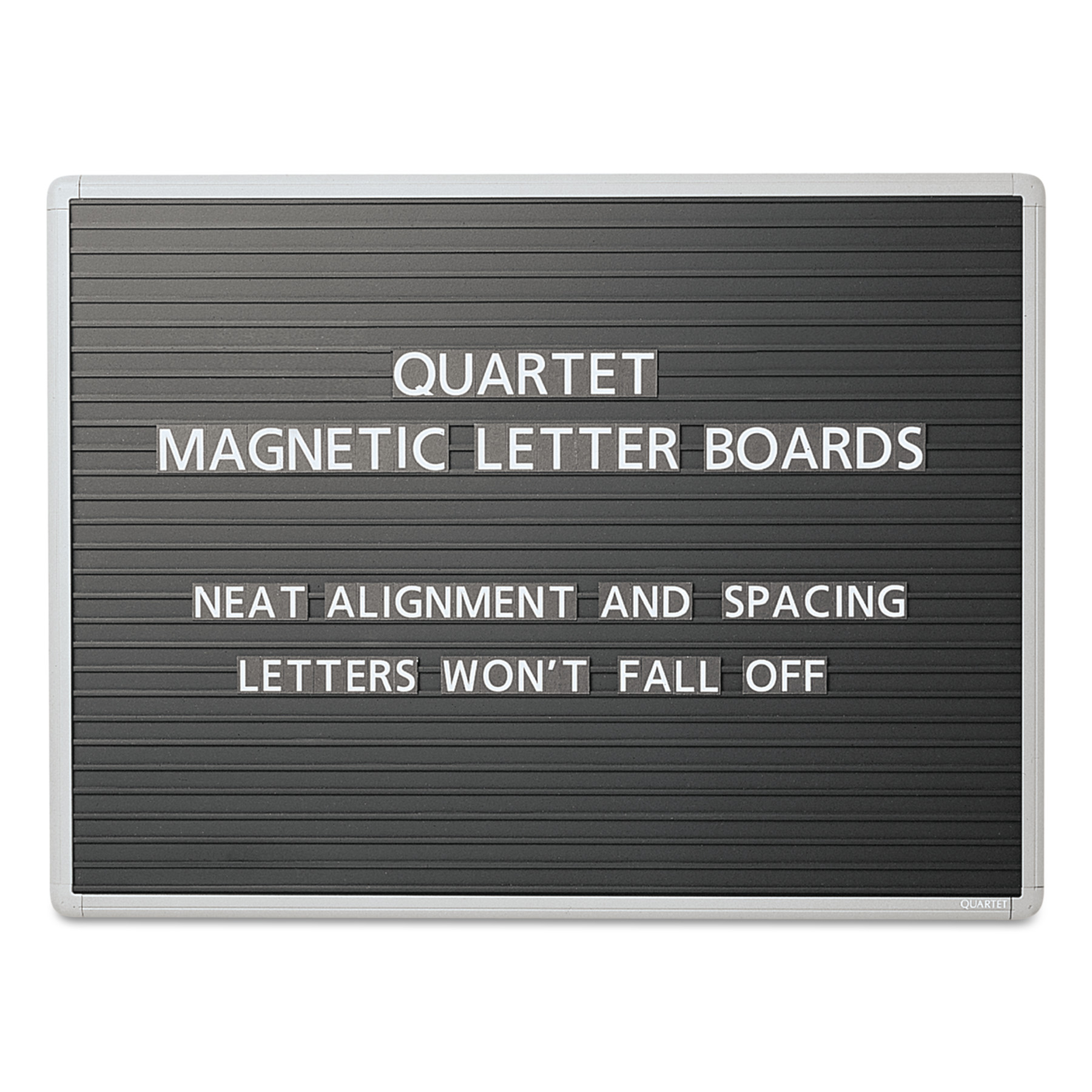 Quartet Magnetic Wall Mount Letter Board, 36 x 24, Black, Gray Aluminum Frame -QRT903M