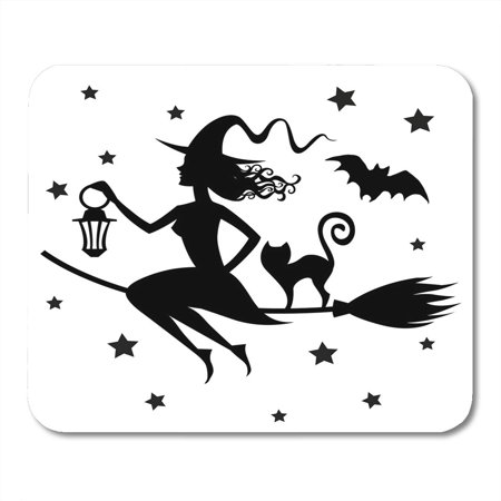 LADDKE Beautiful Black Animation Witch on Broomstick Silhouette Halloween Bat Bewitchment Mousepad Mouse Pad Mouse Mat 9x10 inch - Halloween Bat Silhouette
