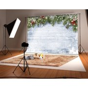 GreenDecor Polyester Fabric 7x5ft Christmas Photography Backdrop for Photographers Wood Wall Backdrops White Snow Photo Background