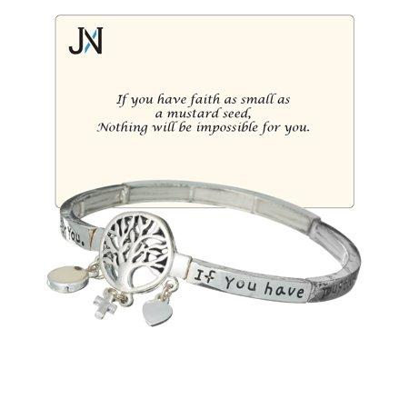 Tree of Life Seed Of Faith Heart & Cross Charm Stretch Inspirational Bracelet - Jewelry Nexus (Inspirational Jewelry Bracelet)