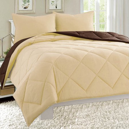 Dayton Queen Size 3-Piece Reversible Comforter Set Soft Brushed Microfiber Quilted Bed Cover Taupe &