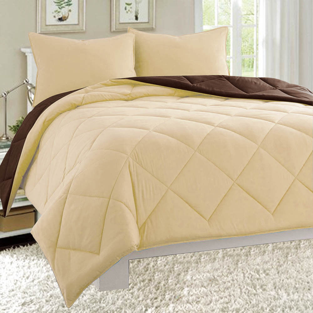 Dayton King Size 3-Piece Reversible Comforter Set Soft Brushed Microfiber Quilted Bed Cover Taupe & Brown