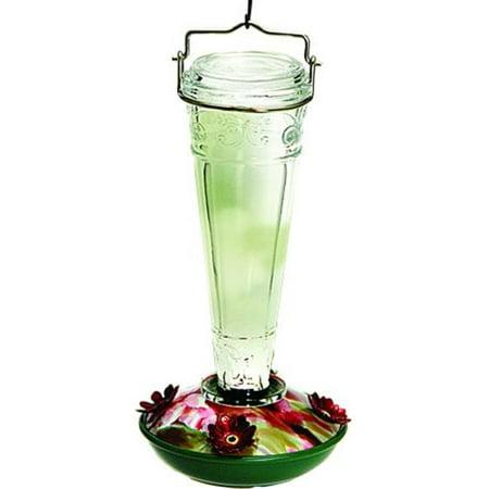 Decorative Glass Hummingbird Feeder 8 Ounce Clear NA35244