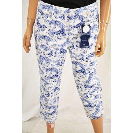 2ff91d12346 Charter Club - Charter Club Women s Blue Bristol Printed Capri Denim Jeans  Petite 14P - Walmart.com