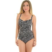 Miraclesuit Womens One Piece Swimwear Slimming Swimsuit Black White Print VNeck