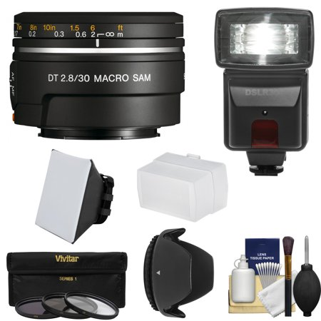 Sony Alpha A-Mount 30mm f/2.8 DT Macro SAM Lens with Flash + 3 Filters + Diffusers + Hood + Kit for A37, A58, A65, A68, A77 II, A99