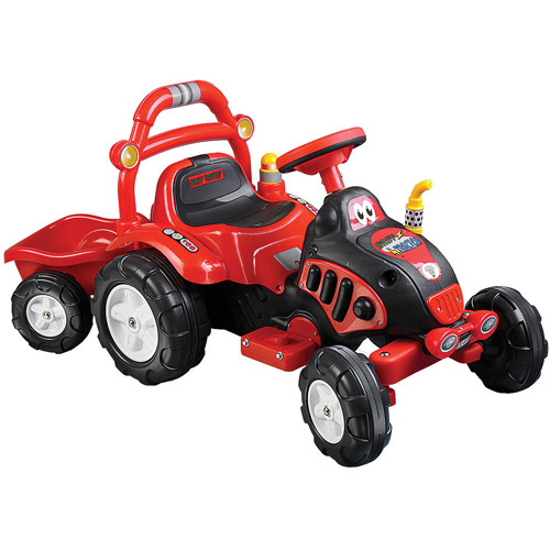 Ride On Toy Tractor and Trailer, Battery Powered Ride On Toy by Rockin' Rollers – Ride On Toys for Boys and Girls, For 3 – 7 Year Olds (Red)