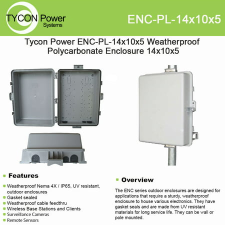 Tycon Power ENC-PL-14x10x5 Weatherproof Polycarbonate Enclosure 14x10x5