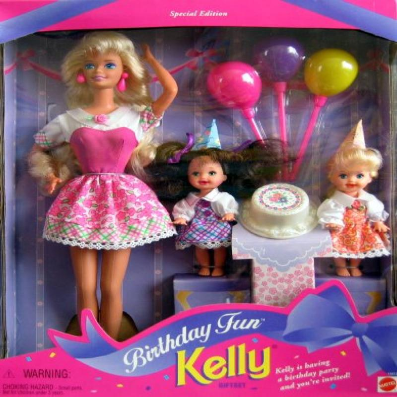 Mattel Barbie Birthday Fun KELLY Giftset Special Edition w Barbie, Kelly & Chelsea Dolls & Accessories (1996)