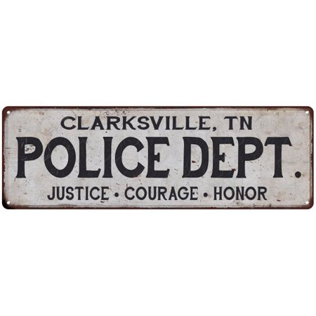 CLARKSVILLE, TN POLICE DEPT. Home Decor Metal Sign Gift 6x18 206180012163 ()