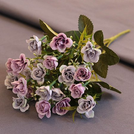KABOER 20 Heads Artificial Silk Flowers Rose Bunch Wedding Home Grave Bouquet Newest UK Blue Flowers Bread Plate