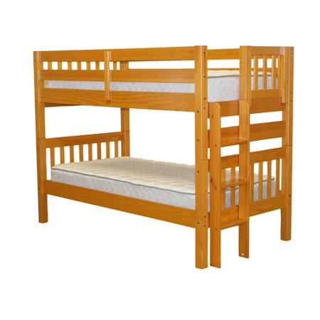 Bedz King Bunk Beds Twin over Twin Mission Style with End Ladder, Honey