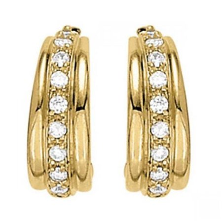 Harry Chad Enterprises HC12300 1.20 CT Round Diamonds Hoop Earring - 14K Yellow Gold - image 1 of 1