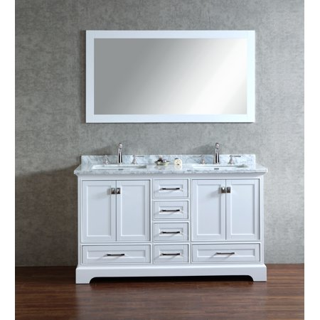 Newport White 60 Inch Double Sink Bathroom Vanity With Mirror