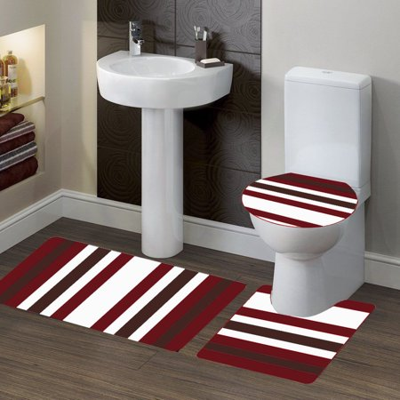 "3-PC (#7) Stripe Burgundy HIGH QUALITY Jacquard Bathroom Bath Rug Set Washable Anti Slip Rug 18""x28"", Contour Mat 18""x18"" and Toilet Seat Lid Cover 18""x19"" with Non-Skid Rubber Back"