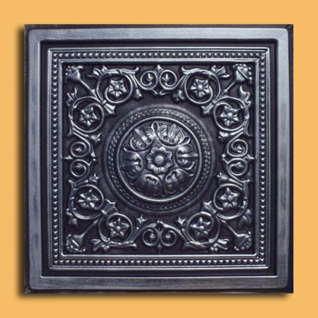 Majesty Antique Silver Black PVC Ceiling Tiles for Drop in Grid System (10 pack) (Faux Drop Ceiling Tiles)