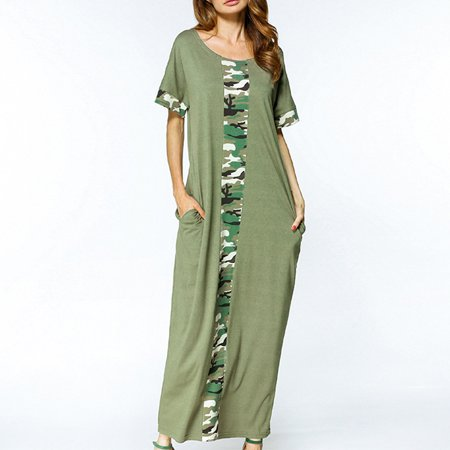 e196bc1c0fb Boho Women Camouflage Floral Loose Plus Size Cocktail Maxi Long Dress -  Walmart.com
