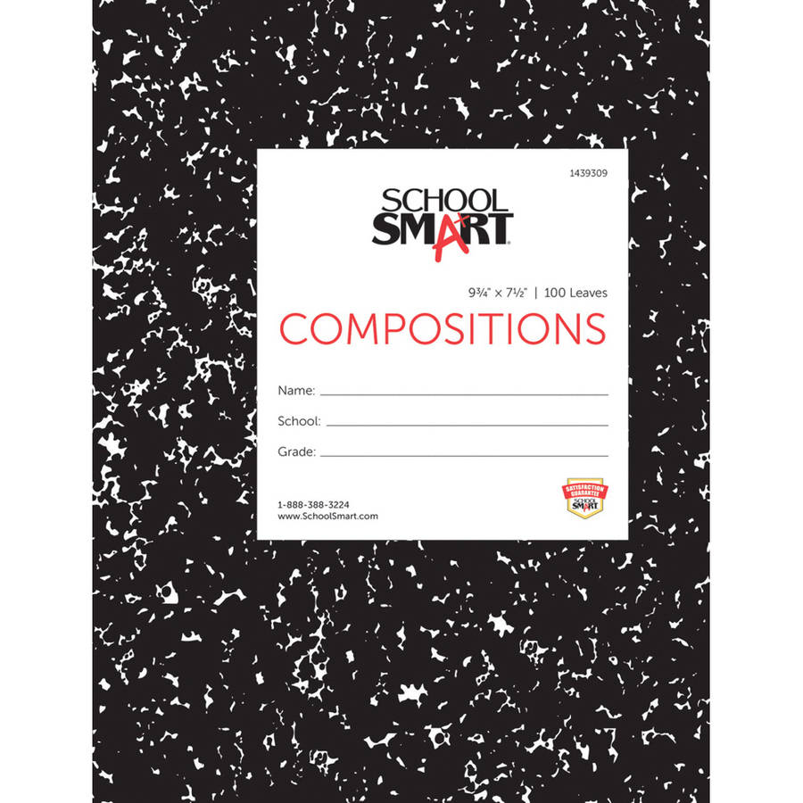 "School Smart Hardcover Composition Book, 100 Leaves, 9.75"" x 7.5"", College Ruling, 200 Sheets, White Paper, Black Marble Cover"