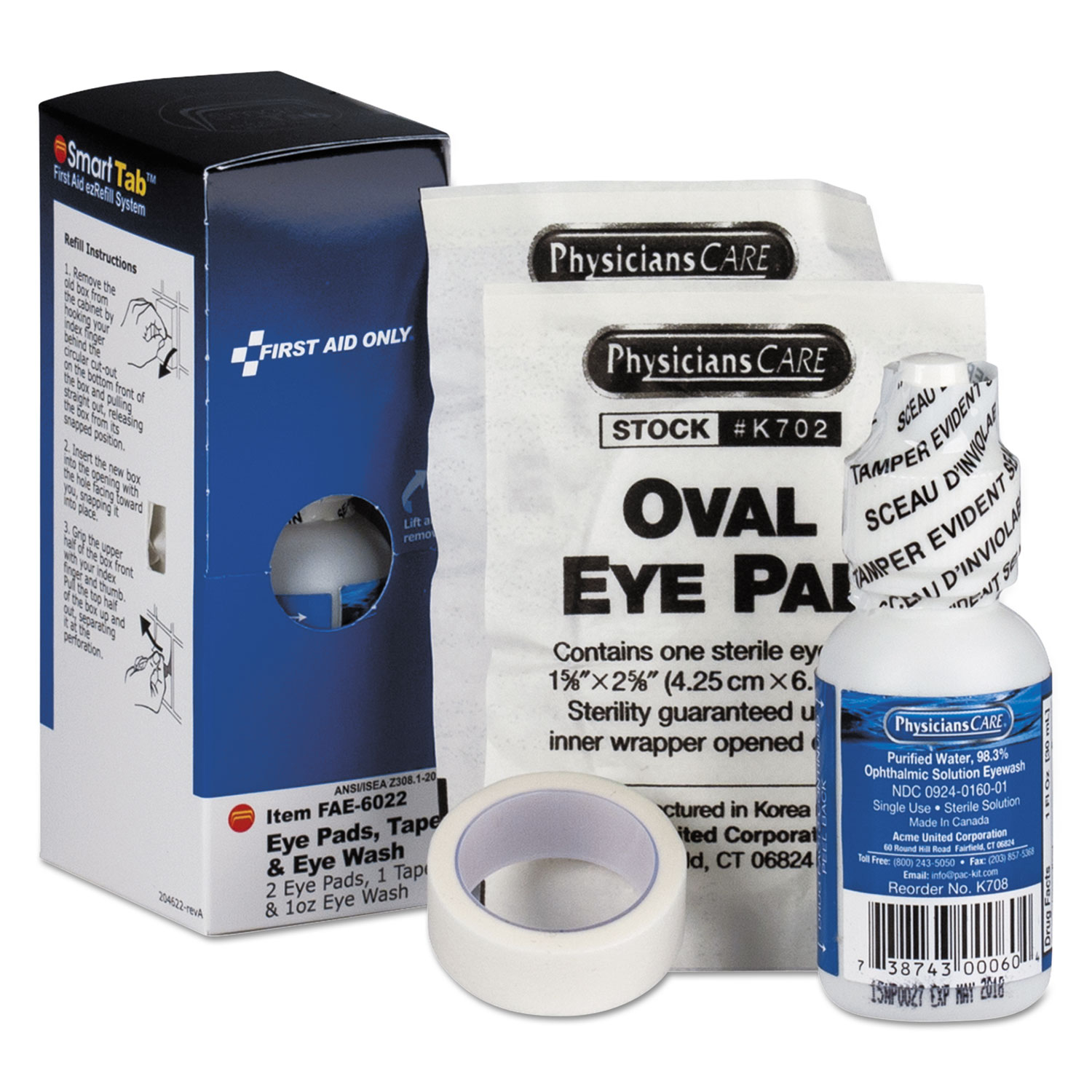 SmartCompliance Eyewash Set with Eyepads and Adhesive Tape
