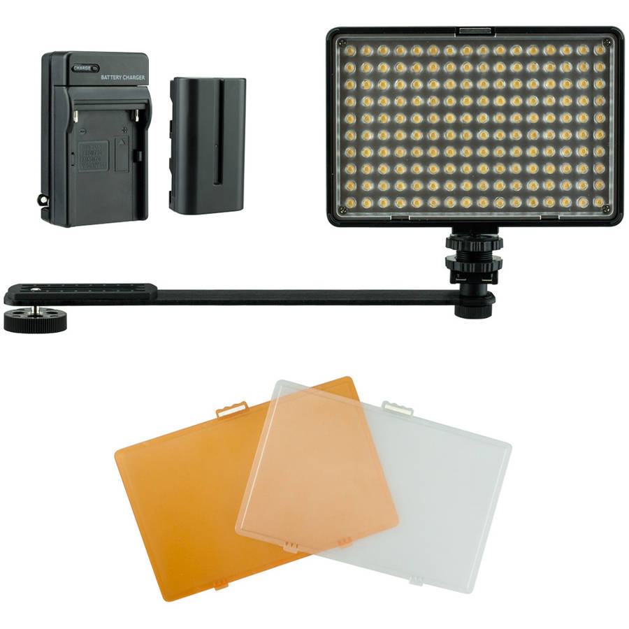 Professional Portable LED Light Kit with 2 Batteries, Charger and Bracket