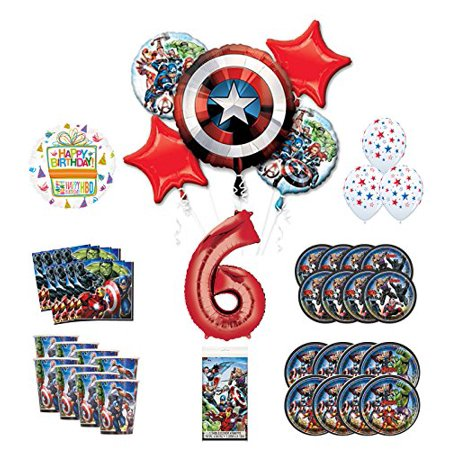 Mayflower Products Avengers 6th Birthday Party Supplies and 8 Guest Balloon Decoration Kit (The Avengers Party Supplies)