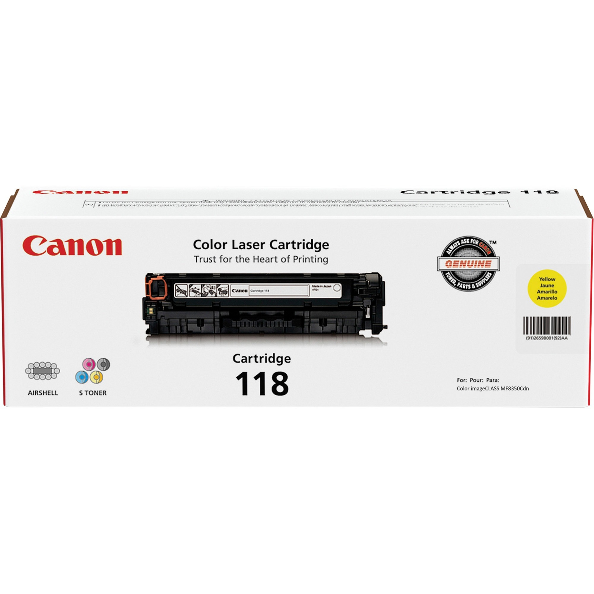 Canon, CNMCRTDG118YW, CRTDG118 Toner Cartridge, 1 Each