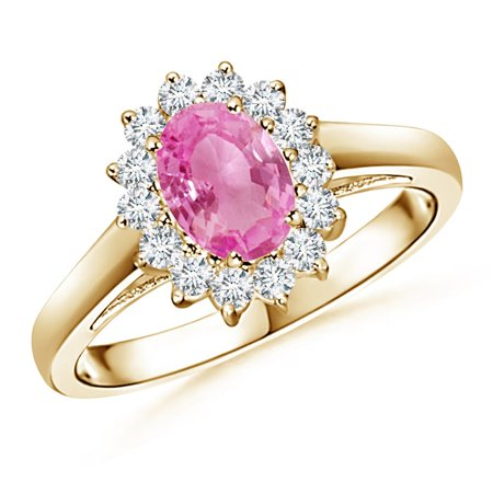 September Birthstone Ring - Princess Diana Inspired Pink Sapphire Ring with Diamond Halo in 14K Yellow Gold (7x5mm Pink Sapphire) - SR0169PS-YG-AA-7x5-9
