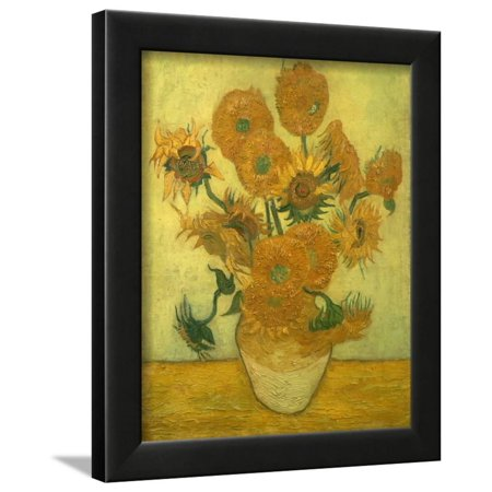 Fourteen Sunflowers In A Vase 1889 Framed Print Wall Art By Vincent