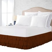 100% Egyptian Cotton 1 Pcs Multi Ruffled Bed Skirt 18 Inch Solid(Chocolate,Twin)