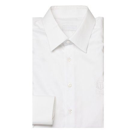 Prada Mens Royal Logo Oxford Spread Collar Cotton Dress Shirt White