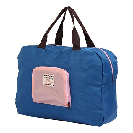 Travel Shopping Water Resistant Folding Handbag Holder Container Tote Bag Blue (Tote Bag With Water Bottle Holder)