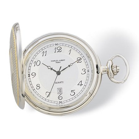 Gold Finish Two-tone White Dial Pocket Watch Date White Pocket Watch