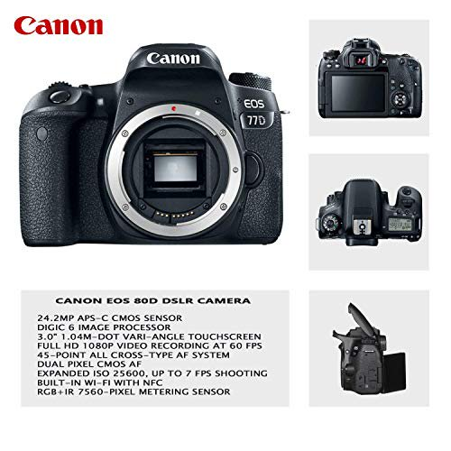 Canon EOS 77D Digital SLR Camera with Canon EF-S 18-55mm & 75-300mm III  Lens + Video LED Light + Video Pro Microphone + Sandisk 32GB SDHC Memory  Card,
