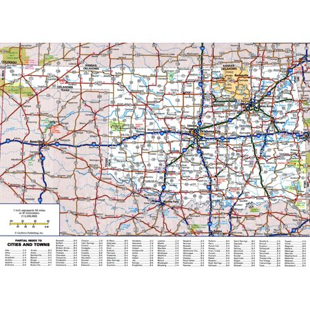 Laminated Map - Large detailed roads and highways map of Oklahoma state with all cities and national parks Poster 24 x 36 ()