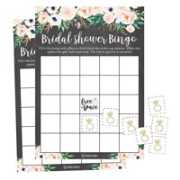 25 Rustic Vintage Pink Flower Bingo Game Cards For Bridal Wedding Shower and Bachelorette Party, Bulk Blank Squares Gift Ideas, Funny Supplies Bride and Couple PLUS 25 Wedding Ring Bingo Chip Markers