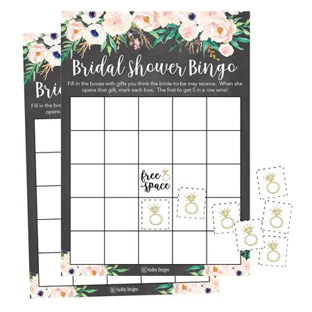 25 Rustic Vintage Pink Flower Bingo Game Cards For Bridal Wedding Shower and Bachelorette Party, Bulk Blank Squares Gift Ideas, Funny Supplies Bride and Couple PLUS 25 Wedding Ring Bingo Chip Markers - Bridal Party Gift Ideas