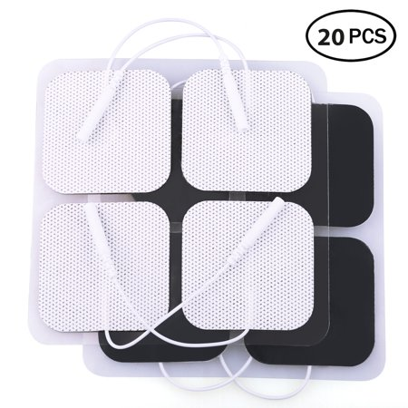 20 PCS TENS Unit Electrode Pads Replacement for TENS EMS Massage, 2 Inch Square White Cloth Backing with Premium Adhesive Gel