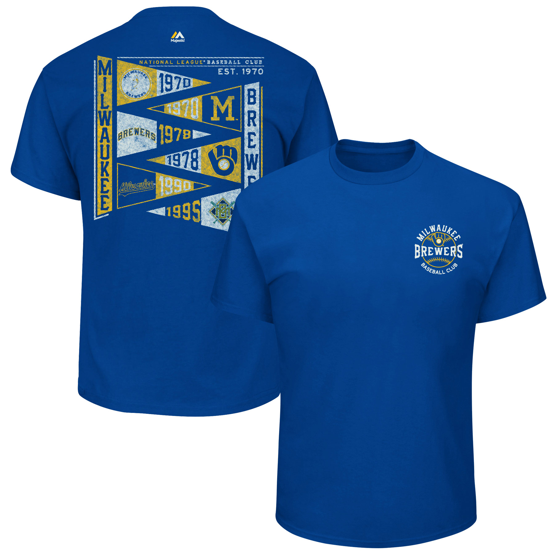 Milwaukee Brewers Majestic Wave the Pennant T-Shirt - Royal